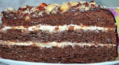 Шоколадный бисквитный торт без яиц с творожным кремом