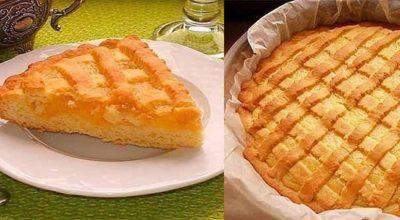 Нежный пирог с лимонным кремом из песочного теста