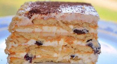 Бесподобный торт без выпечки с печеньем. Эта начинка вскружит тебе голову!
