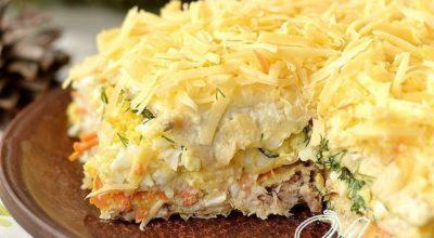 Сытный и очень вкусный закусочный торт — вкус запомнится надолго!