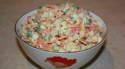 Очень вкусный салат, с морковью по-корейски и крабовыми палочками, «Валерия»