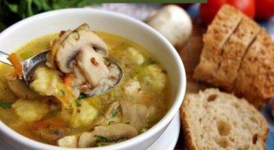 Гречневый суп с грибами и картофельными клёцками!!