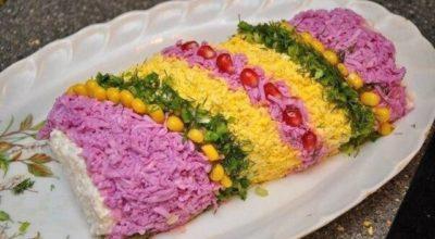 Праздничный салат «Новогодняя хлопушка»